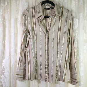 New York & Company Striped Long Sleeve Blouse